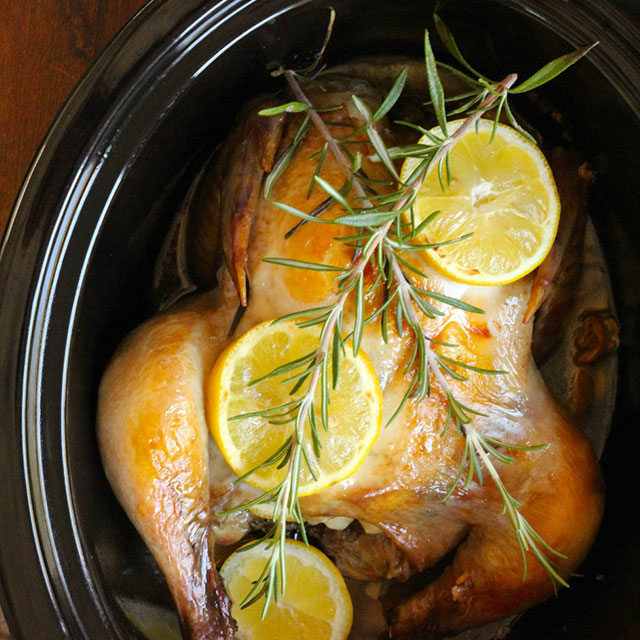 Slow cooker roast chicken – perfected with hints of lemon, piney ...