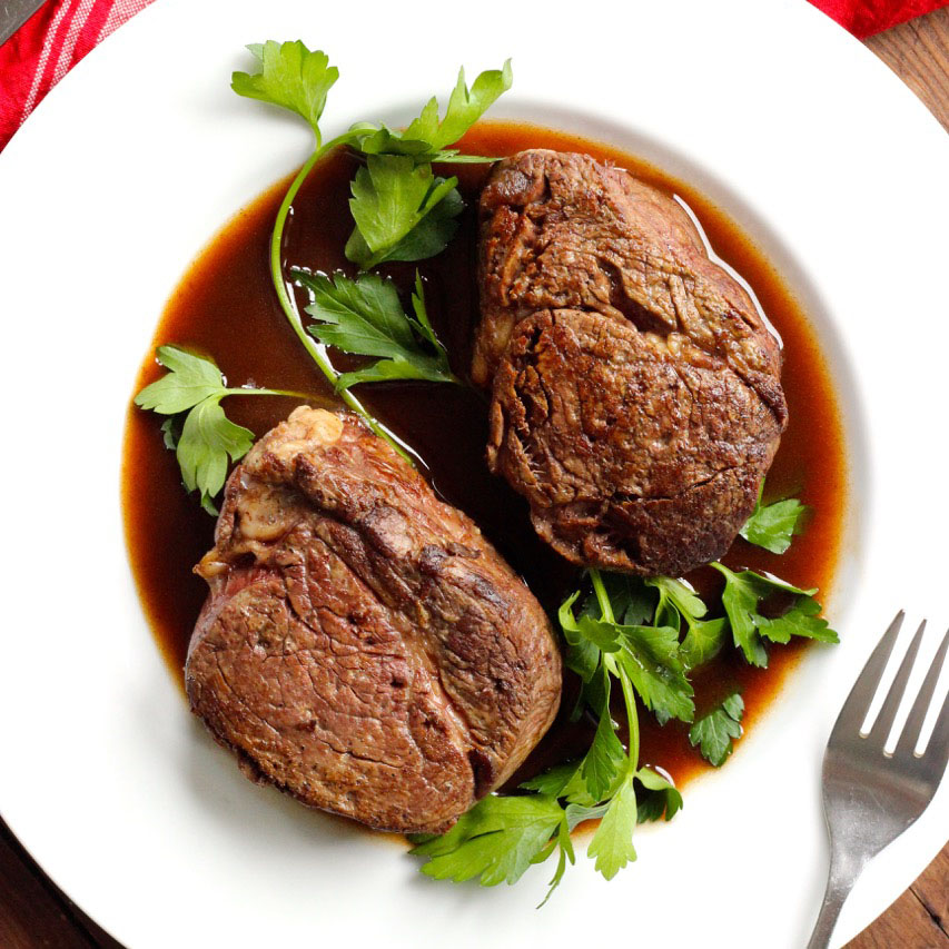 Filet Mignon with Red Wine Reduction Sauce