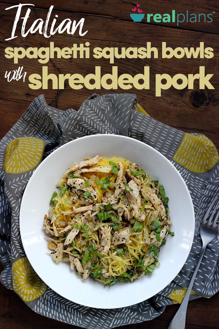 Italian Spaghetti Squash Bowls With Shredded Pork