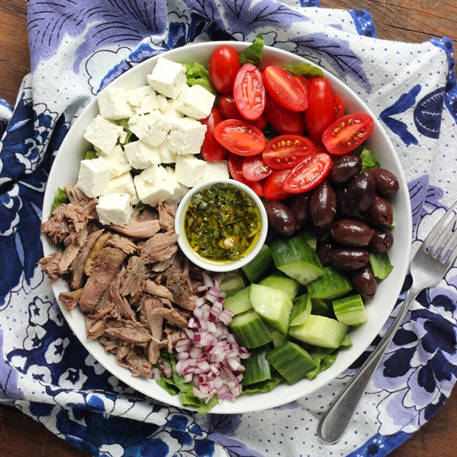 Greek Salad with Roasted Lamb - Real Plans