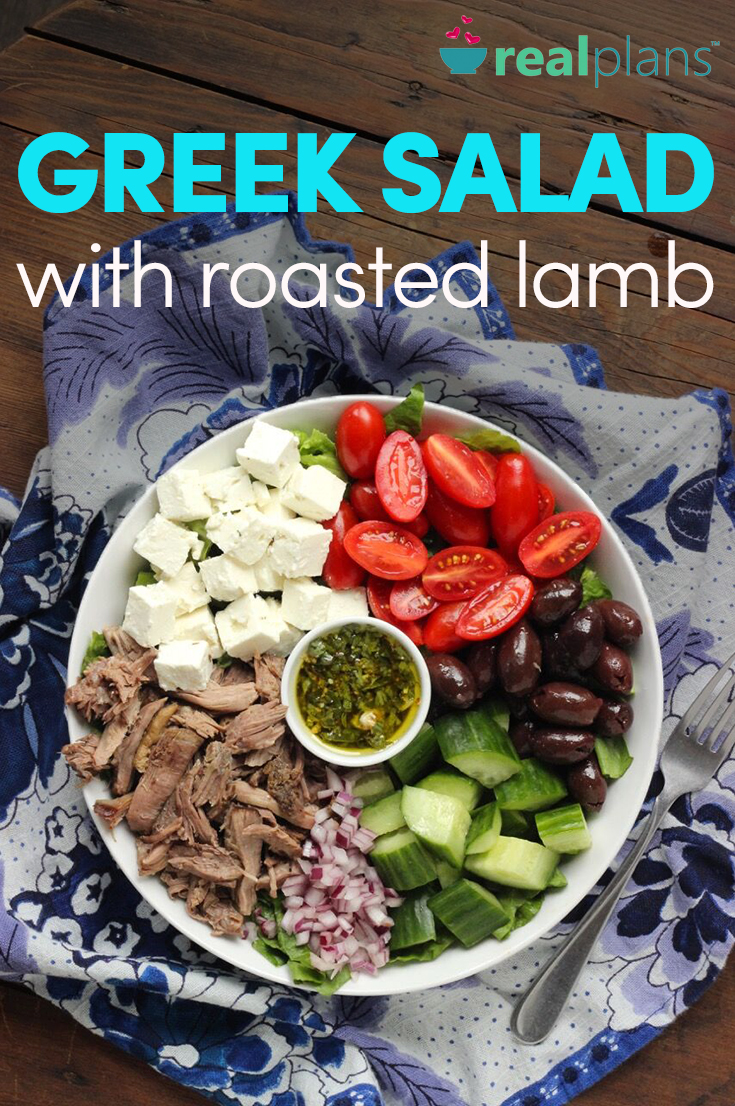 Greek Salad with Roasted Lamb