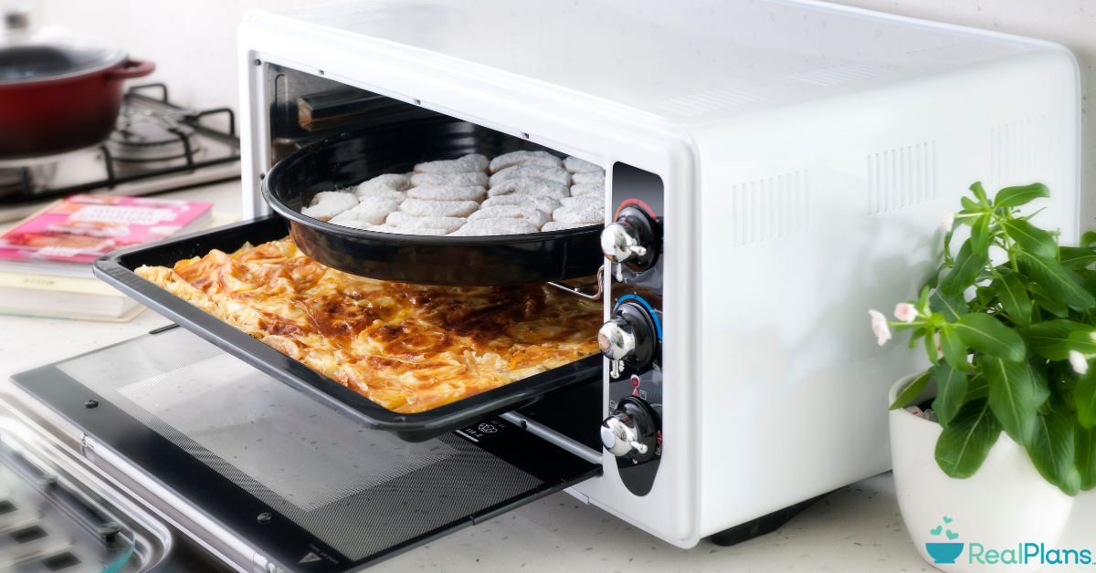 Food being cooked and reheated in a toaster oven.